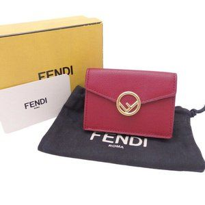 FENDI F is Micro Trifold Wallet Dark Red Leather/G